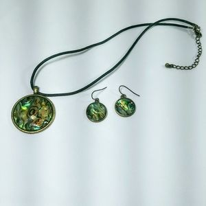 Jewelry - Abalone Shell Necklace & Earrings Set